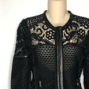 IRO | Lewis Lace & Leather Cutout Jacket